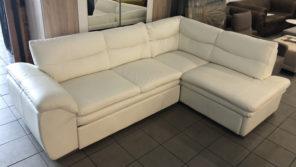 Leandra gyönyörű bőr kanapé fehér színben