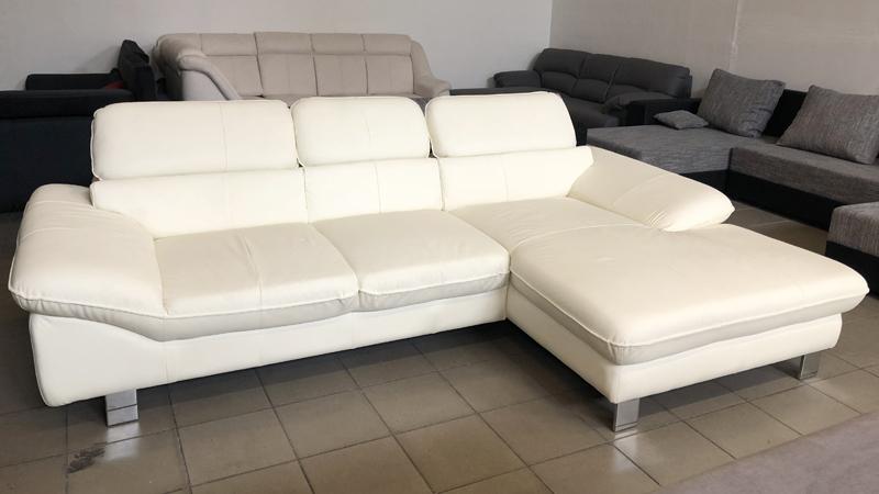 Driver White valódi bőr kanapé, állítható fejtámlákkal