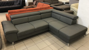 Finca bőr L alakú kanapé grafitszürke színben