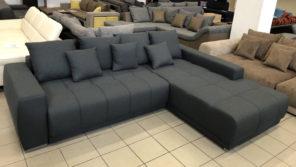 Maxi, jobbos, sötét szürke L alakú kanapé