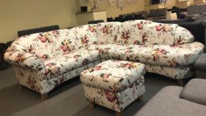 Myfair L alakú kanapé virágmintás kárpitozással