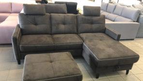 Hybe sötétszürke L alakú kanapé ajándék puffal