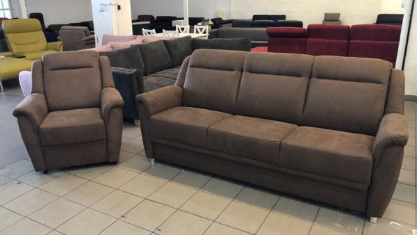 Katherina bőrhatású szövettel kárpitozott kanapé és fotel